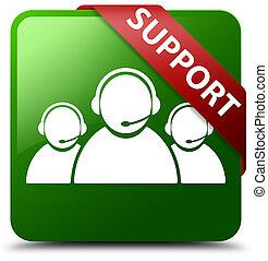 Support (customer care team icon) green square button red ribbon in corner