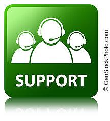 Support (customer care team icon) green square button