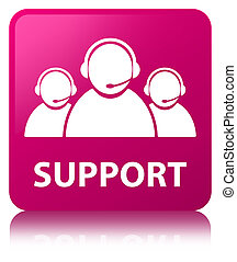 Support (customer care team icon) pink square button