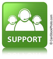 Support (customer care team icon) soft green square button