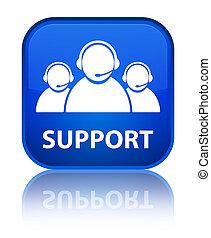 Support (customer care team icon) special blue square button