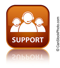 Support (customer care team icon) special brown square button