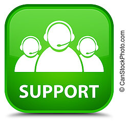 Support (customer care team icon) special green square button