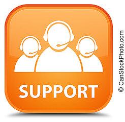 Support (customer care team icon) special orange square button