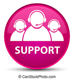 Support (customer care team icon) special pink round button