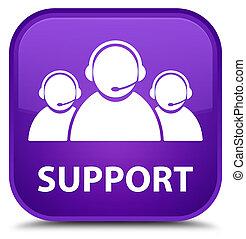 Support (customer care team icon) special purple square button