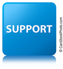 Support cyan blue square button