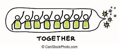 Support each other corona virus covid 19 stickman infographic. Considerate community help graphic clip art. Worl wide viral pandemic affects everyone. Be kind, dont touch, stay positive poster.