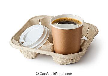 support, emporter, café, ouvert, une