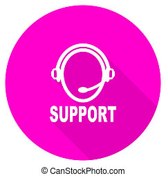 support flat pink icon