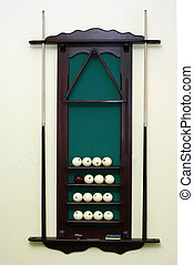 Support for billiard spheres - The wooden support for...