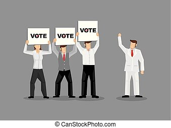 Support from Voters Cartoon Vector Illustration