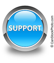 Support glossy cyan blue round button
