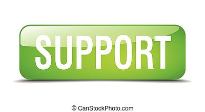 support green square 3d realistic isolated web button