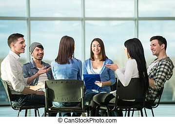 Support Group - Circle of trust. Group of people are sitting...