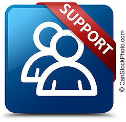 Support (group icon) blue square button red ribbon in corner