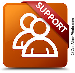 Support (group icon) brown square button red ribbon in corner