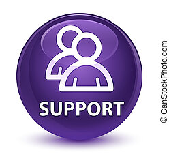 Support (group icon) glassy purple round button