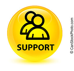 Support (group icon) glassy yellow round button