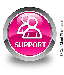 Support (group icon) glossy pink round button