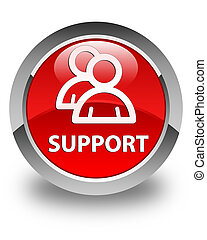 Support (group icon) glossy red round button