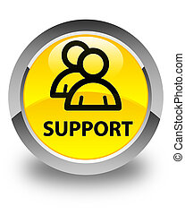 Support (group icon) glossy yellow round button