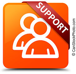 Support (group icon) orange square button red ribbon in corner