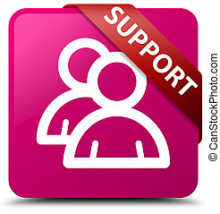 Support (group icon) pink square button red ribbon in corner