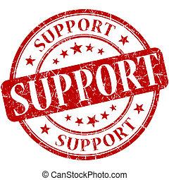 Support grunge round red stamp