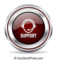 support icon chrome border round web button silver metallic pushbutton