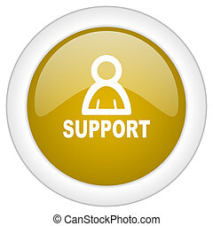 support icon, golden round glossy button, web and mobile app design illustration