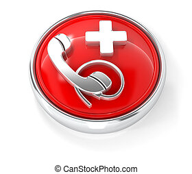 Support icon on glossy red round button