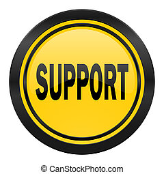 support icon, yellow logo,