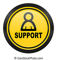 support icon, yellow logo