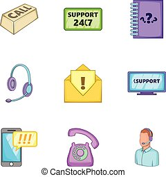 Support icons set, cartoon style
