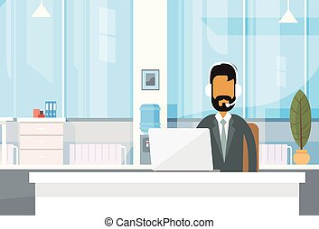 Support Indian Business Man Sitting Desk India Businessman Office Working Place Laptop Online