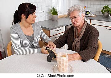 support., kobieta, pocieszający, osierocenie, death., wdowa