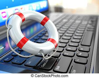 support., laptop, og, lifebuoy, på, laptop's, keyboard.
