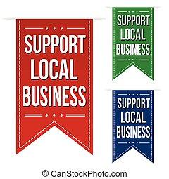 Support local business banner design set