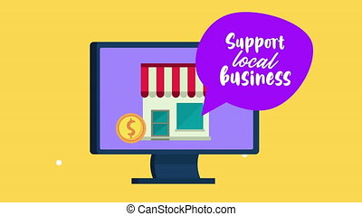 support local business lettering with store building in ...