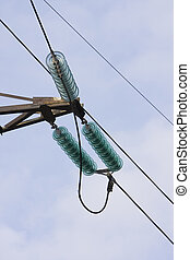 Support of line of electricity transmissions with isolators and wires