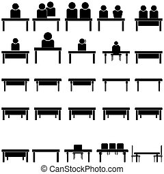 Support or people at the table - set icons.