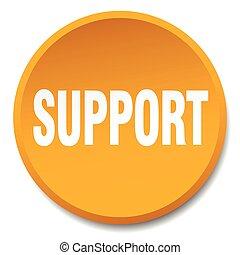 support orange round flat isolated push button