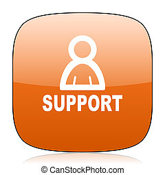 support orange square web design glossy icon