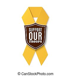 Support our troops. Yellow ribbon with shield isolated on...