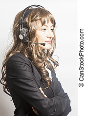 Support phone operator in headset on white background