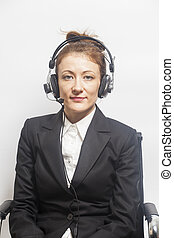 Support phone operator in headset on white