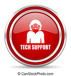 Support red silver metallic chrome border web and mobile phone icon on white background with shadow