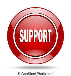 support red web glossy round icon