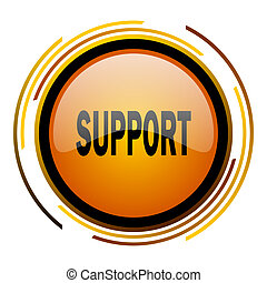 support round design orange glossy web icon